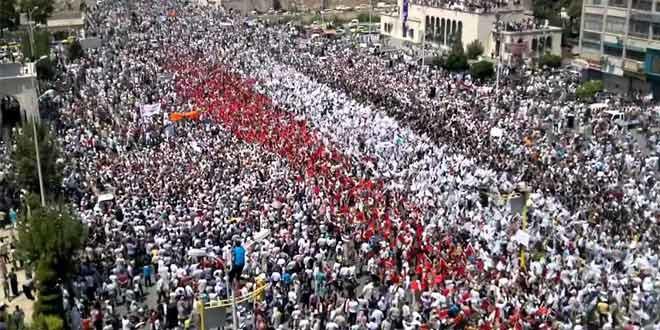 مظاهرات مدينة حماة، سوريا. 23 آب/أغسطس 2011. المصدر: يوتيوب