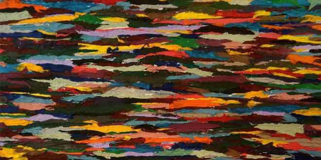 """مقطع من لوحة """"طبقات إلى السماء"""" للتشكيلية سحر برهان. نشرت بالأصل على صفحة الفن والحرية"""